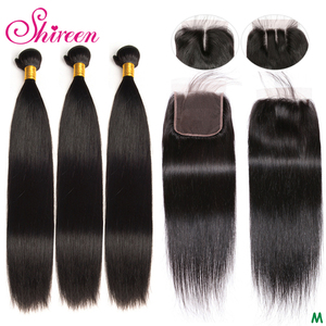 Image 1 - Shireen ブラジル人毛織り 3 バンドルと閉鎖 100% レミーストレートヘアバンドルで 4 × 4 のレースの閉鎖自然な色