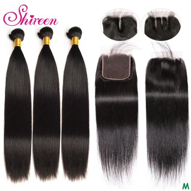 Shireen Brazillian Menschliches Haar Weave 3 Bundles Mit Verschluss 100% Remy Gerade Haar Bundles mit 4x4 Spitze Schließung natürliche Farbe