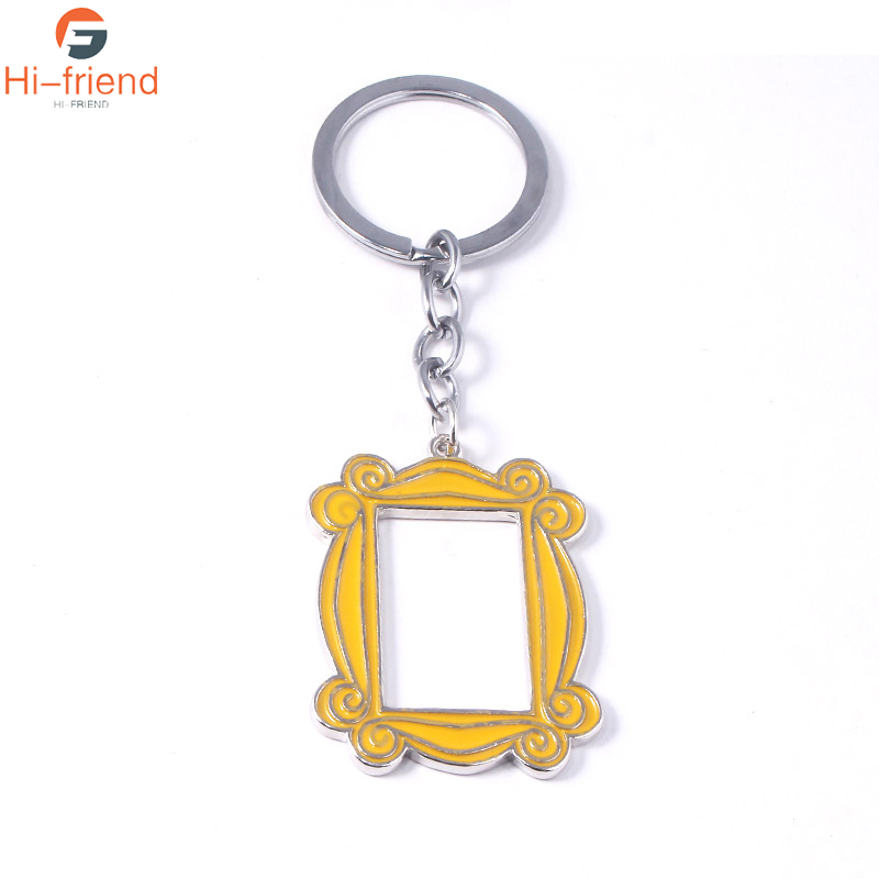 Friends tv show Monicas Door yellow photo frame keychains enamel pendant keyring fashion souvenirs gifts jewelry