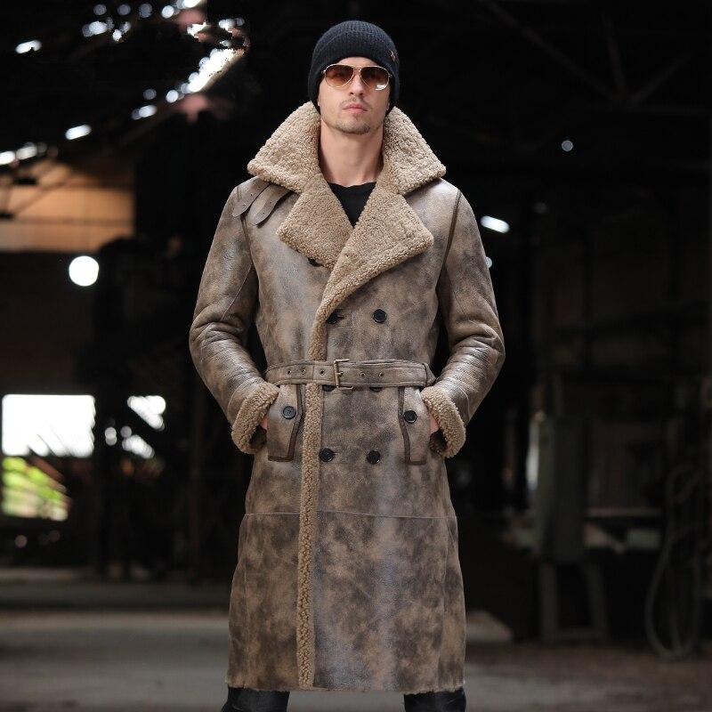 X-long Sheep Fur One Men's Leather Coat Men Genuine Fur Leather Windbreaker Coat Fur Jackets And Coats Winter Shearling Jacket