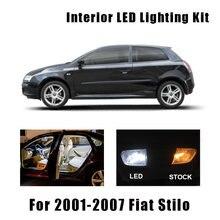 14 pçs branco canbus livre de erros carro conduziu a lâmpada interior mapa cúpula luzes kit para fiat stilo 2001-2007 acessórios do carro luz tronco