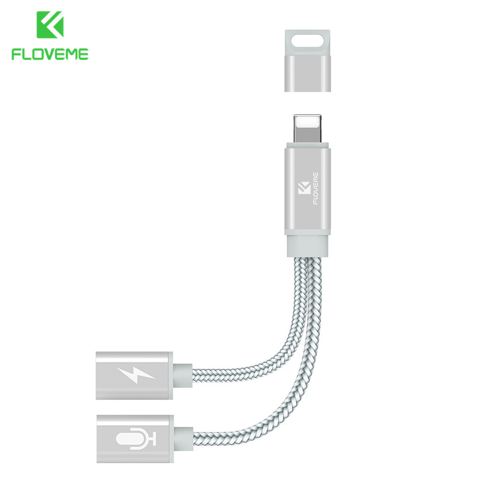 2 in 1 Dual Jack Adapter Audio Charging Splitter Cable for iPhone X XR 8 7 Plus Earphone Headphones Converter For iOS in Phone Adapters Converters from Cellphones Telecommunications