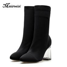 цена MAIERNISI Slim Stretch Mid-Calf Boots Women Pointed Toe Sock Boots Square High Heel crystal Shoes Bota Feminina Plus Size 35-42