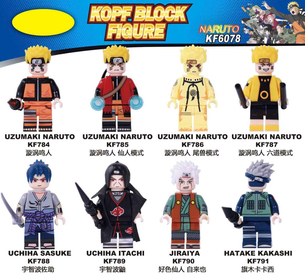 KF6078 Matched Legoing Original Anime Narutoing Naruto Naruto Lust Fairy Sasuke Uchiha Kakashi Assembling Blocks Brain Game