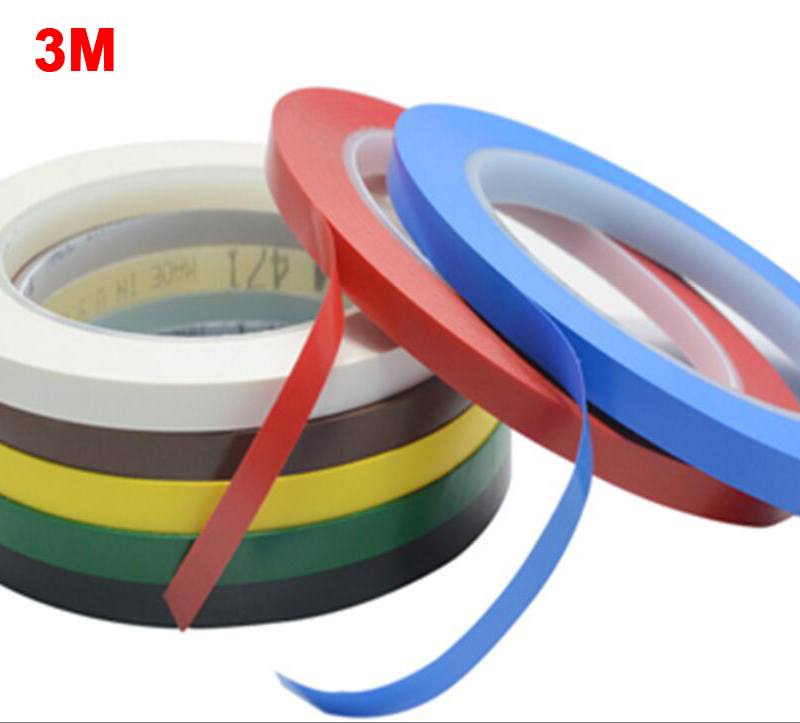 3M 471 Premium Perfomance Strong Vinyl Tape Length 33M Bundle Set For Decoration, Masking 5mm YELLOW BLACK BLUE WHITE RED GREEN