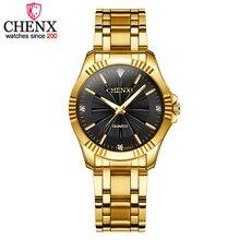 CHENXI Women Fashion Rhinestones Design Ladies Quartz Watch Stainless Steel Womens Wristwatch Luxury Clock Female Golden