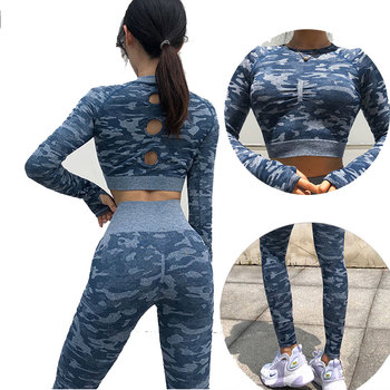 Workout Clothes for Women Camouflage Yoga Set 2 Piece Gym Fitness clothing Long Sleeve Crop Top Legging Pants Running Sport suit