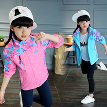 Windbreaker Girls Jacket For Child Hooded 2019 Spring Autumn Loving Heart Outerwear Coat 5-14Y Kids Casual Solid Style Top