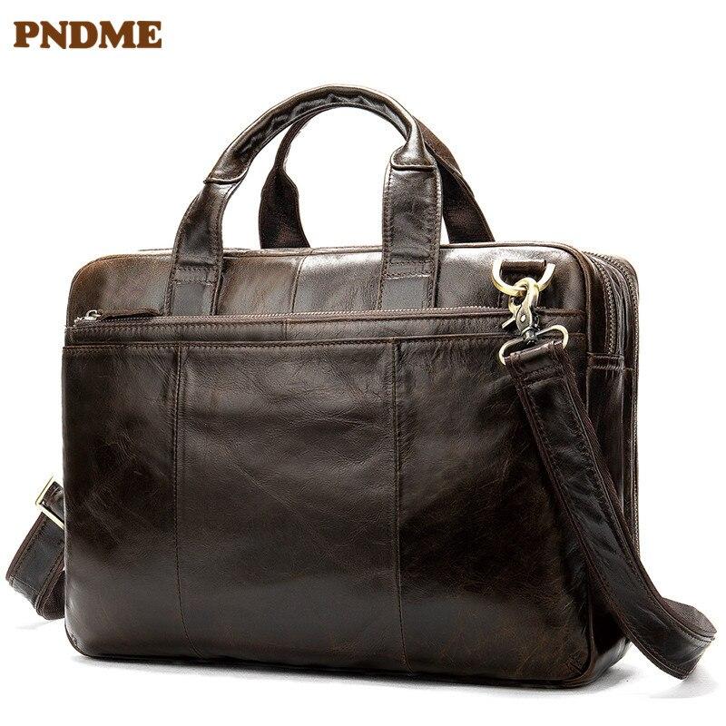 PNDME Retro High Quality Genuine Leather Men's Briefcase Large Capacity Business Soft Cowhide Designer Luxury Work Laptop Bag