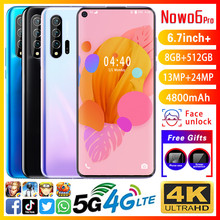 Smartphone Nowo6Pro phones MTK6799 Deca core 6.7inch HD Mobile phone 1440*3040 Unlocked smartphone 8GB+512GB Camera 13MP+24MP