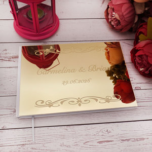Personalized Wedding Signature Guestbooks Custom Acrylic Silver Mirror Souvenir Blank Books Party Favors Gifts Engagement Decor