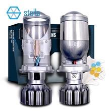 Stella h4 conduziu as lentes do projetor da lente do farol bi para carros 12v 82w 8000lm 6000k lâmpada h19 hi lo turbo do gelo para o automóvel