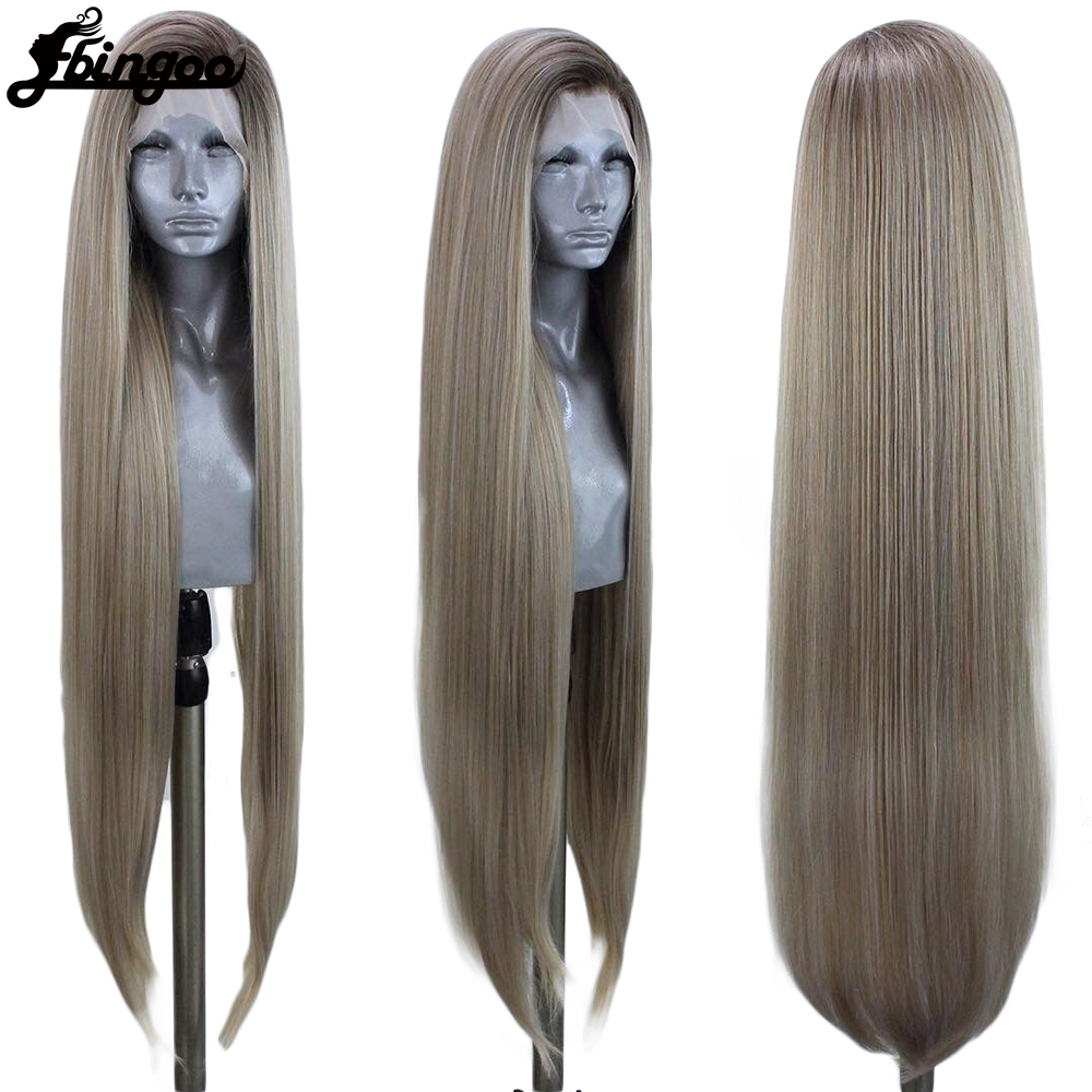 Ebingoo Ombre Ash Blonde Red Synthetic Lace Front Wig Long Straight Heat Resistant Fiber Hair Wig For Women