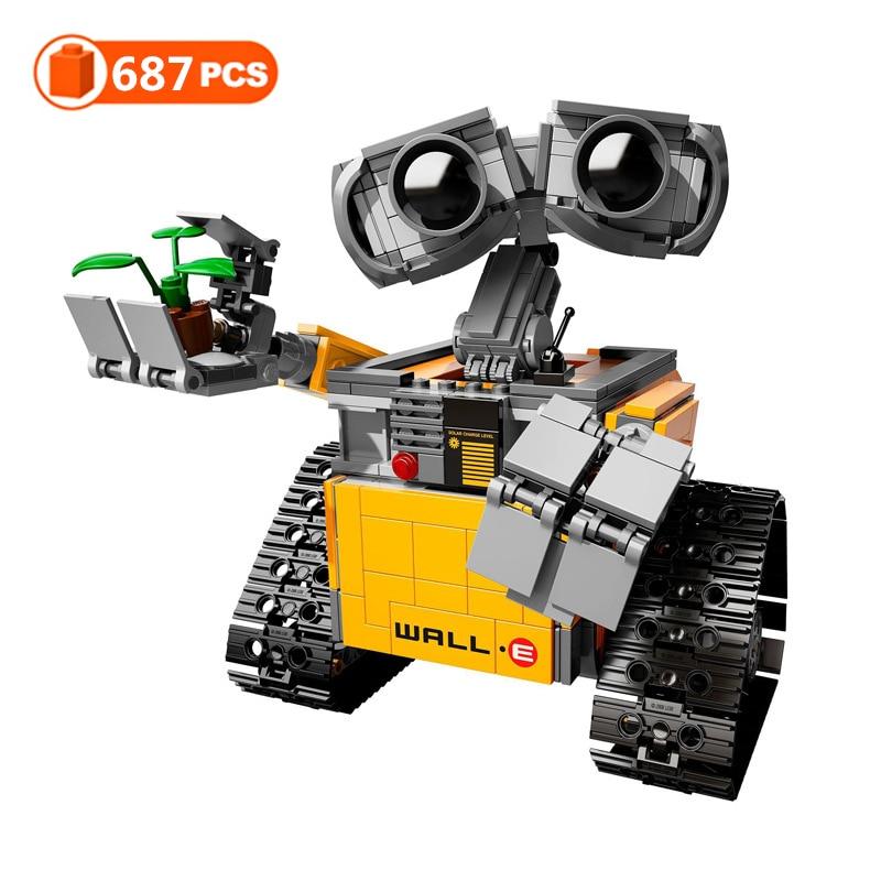687 шт. Disney WALL E робот высокотехнологичные DIY строительные блоки идея электрические игрушки Фигурки Модель совместим с мячом Развивающие игру...