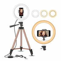32 cm LED anillo luz ajustable trípode para Youtube maquillaje teléfono Selfie con trípode soporte teléfono Clip para xiaomi huawei etc teléfono