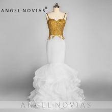 ANGEL NOVIAS Long Elegant Mermaid Party Prom Dress 2019 with Straps Ruffled Organza Vestidos Coctel Mujer
