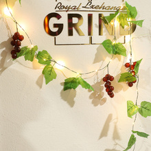 2M 20LEDs Hanging Leaf Rose Garland Battery LED Fairy String Lights Artificial Grape Vine Light Christmas Home Decor