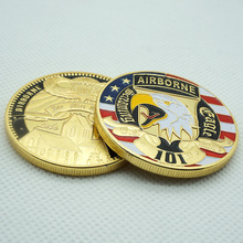 1pcs American 101st Airborne Division Gold Plated Coin Metal Round Coin Replica Free shipping