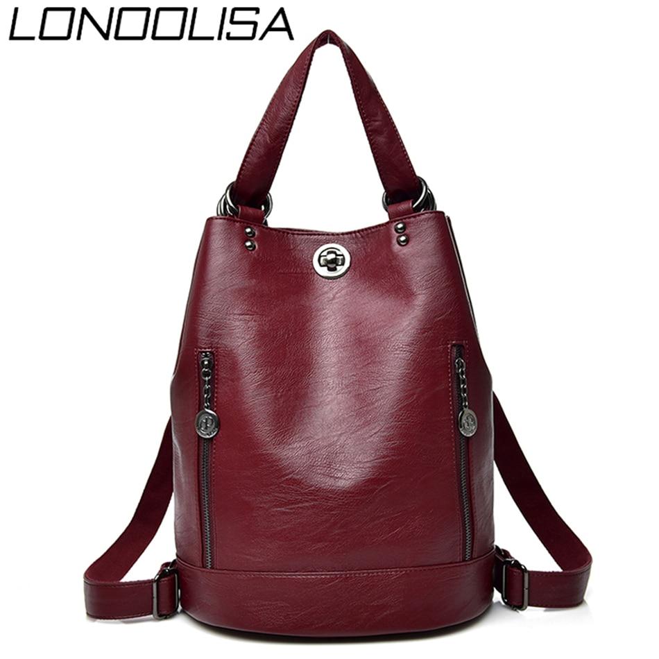 LONOOLISA 3-in-1 Women Backpack Leather Shoulder Bag Female Rucksack High Capacity Women School Bags For Teenage Girls Mochila