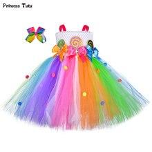 Милое Платье-пачка ярких цветов для девочек радужные украшения для волос вечерние платья леденец конфеты Дети Девушки Пасхальный костюм на Хэллоуин