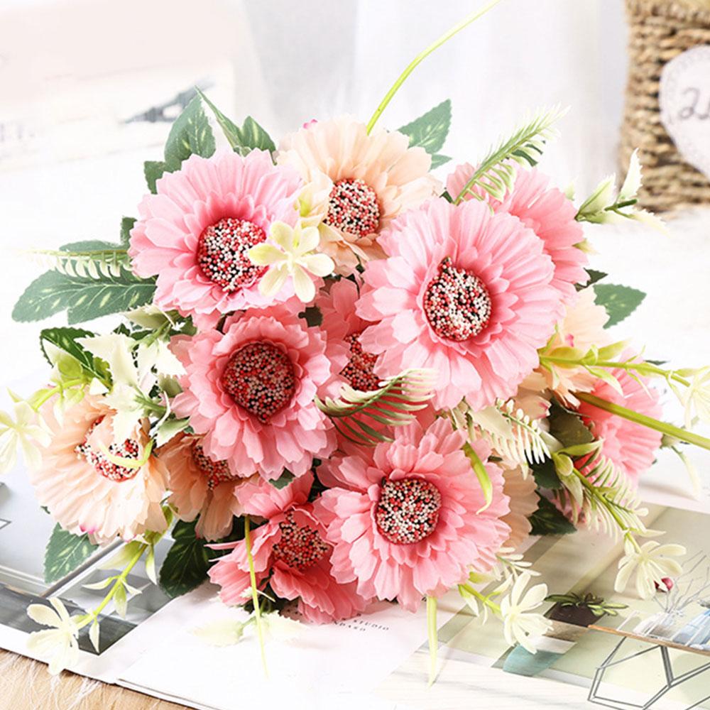 7 Heads Plastic Daisy Artificial Flowers Wedding Bouquet Home Party Decor Floral