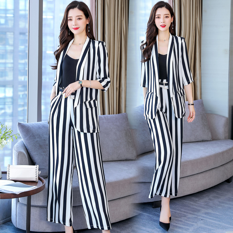 Stripes Small Suit WOMEN'S Suit 2019 Spring And Summer French Non-mainstream Fashion Elegant Half-sleeve Shirt Western Style Loo