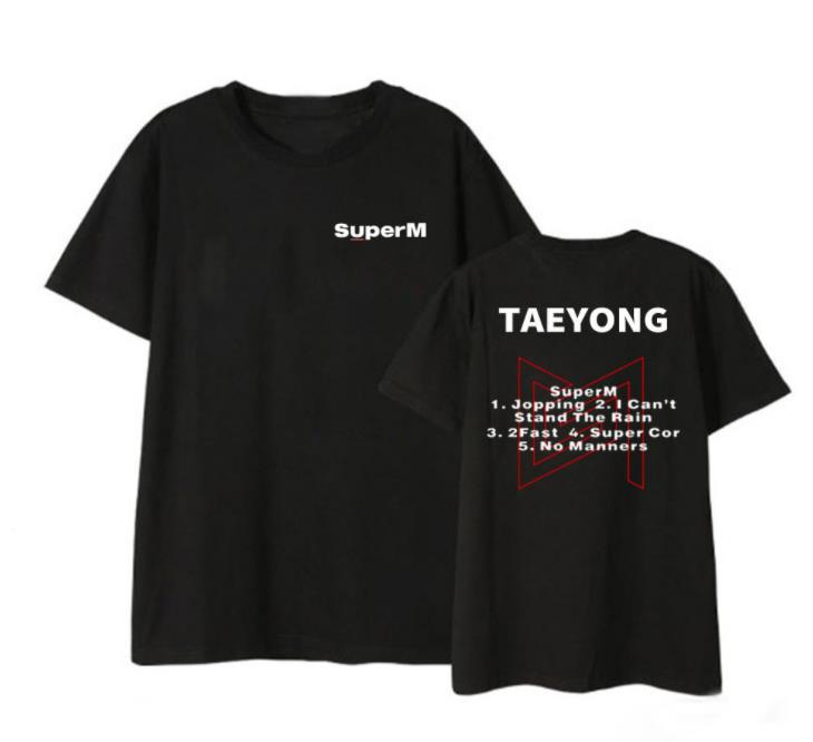 Kpop Summer Style SuperM Album List/member Name Printing T Shirt Unisex Black/white O Neck Short Sleeve T-shirt