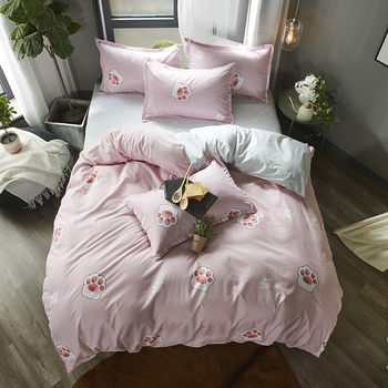 Cartoon Cat Paw Print Bed Cover Set Kid Girl Boy Duvet Cover Adult Child Bed Sheets And Pillowcases Comforter Bedding Set 61063 image