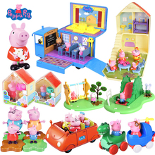 Genuine Peppa Pig Toys Simulation Scene Peppa's Deluxe House Action Figures Play Set Vehicle Toy Kids Gift-Official Original Box peppa pig toys doll train car house scene building blocks action figures toys early learning educational toys birthday gift