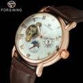 FORSINING мужские часы Топ бренд класса люкс Авто Механический коричневый ремешок из натуральной кожи 3D Индекс дизайн кристально оформленные н...