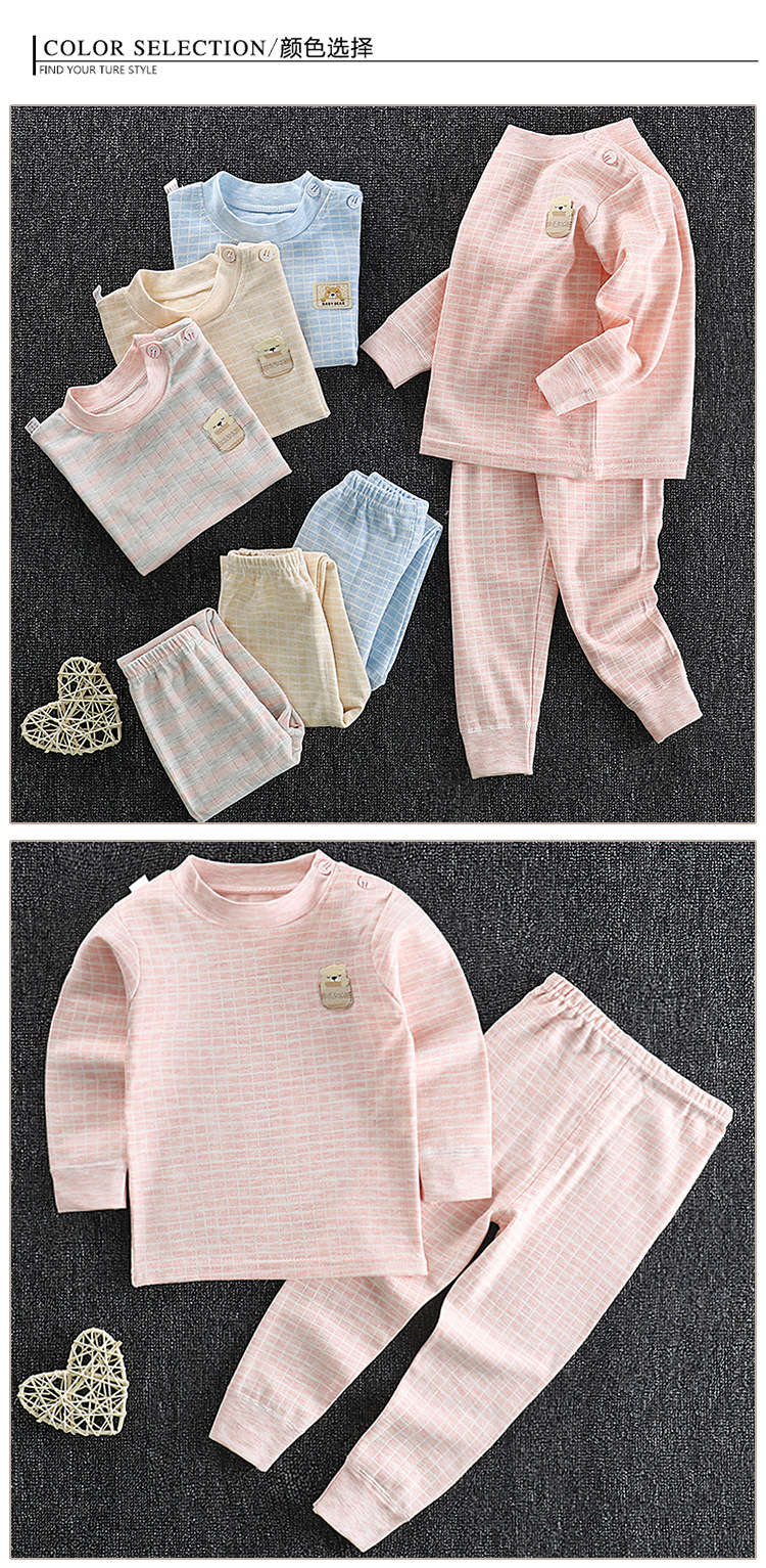 do bebê penteado algodão conjunto de roupa interior outono inverno