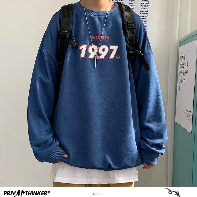 Privathinker 1997 теплый флисовый Свитшот оверсайз толстовки мужские 2020 зимние Утепленные свитшоты корейские уличные пуловеры с капюшоном