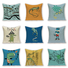 Animal Cartoon Pillow Case Yellow Pillow Flax Pillows 45 * 45 Decoration Home Throw Pillow Covers Custom Quality Cushion Cover chic quality green plants pattern flax pillow case(without pillow inner)