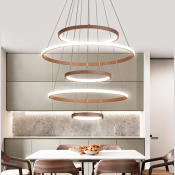 Brown Modern pendant lights for living room dining room 7/5/3/2 Circle Rings aluminum body Line hanging LED pendant Lamp