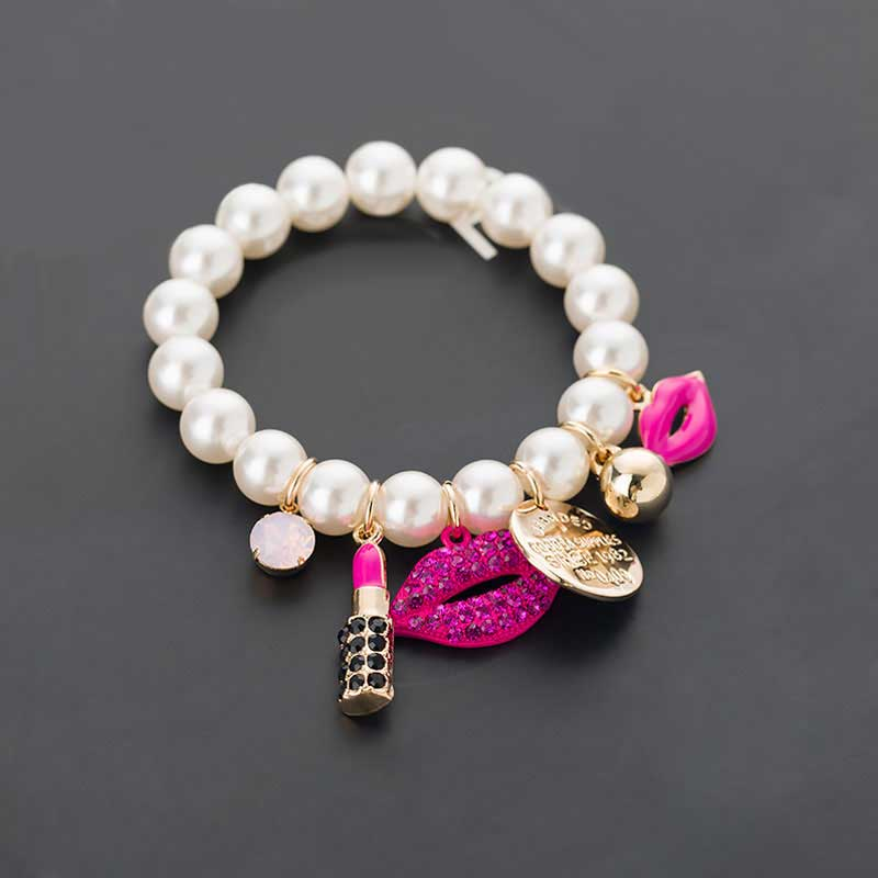 New Chain Pearls Bracelets Rhinestone Red Lips Lipstick Pearl jewelry Pulseiras Bracelet Ladies Accessories(China)