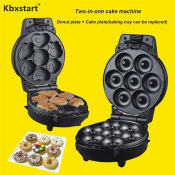 Kbxstart 220V Multifunction Electric Cake maker Muffin Pancake Donut Walnut Machine Iron Baking Pan 2 Changeable Plates 2 in 1