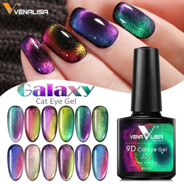 New Nail Art Design Manicure Venalisa 7.5Ml Soak Off Enamel 9d cat eyes magnetic Gel Polish UV Gel Nail Polish Lacquer Varnish 1