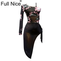 Flower pattern Single sleeve Slit hem Latin Dance Dress Girls Women Samba Dance Costumes Clothes For Salsa Ballroom Dancing Dres