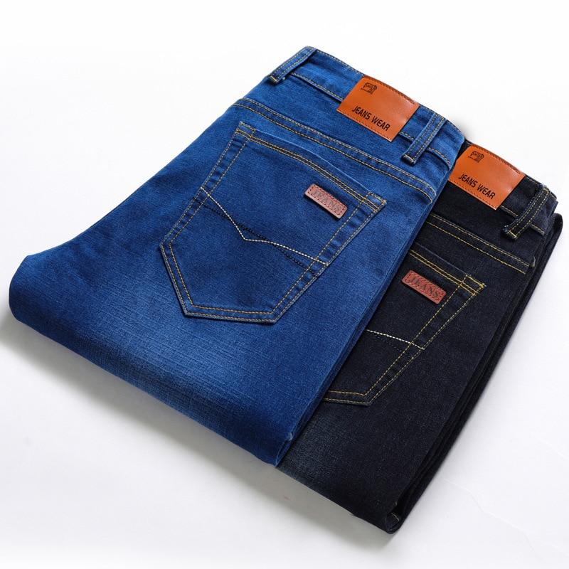 Men Teenager Slim Fit Straight-Cut Jeans Fashion Medium Waist Men's Common Style Elasticity Long Pants