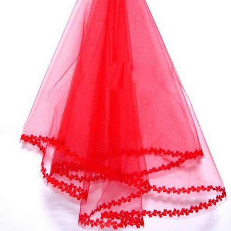ウェディングベールドレスアクセサリー花嫁単層小レースのベールのドレスベール赤