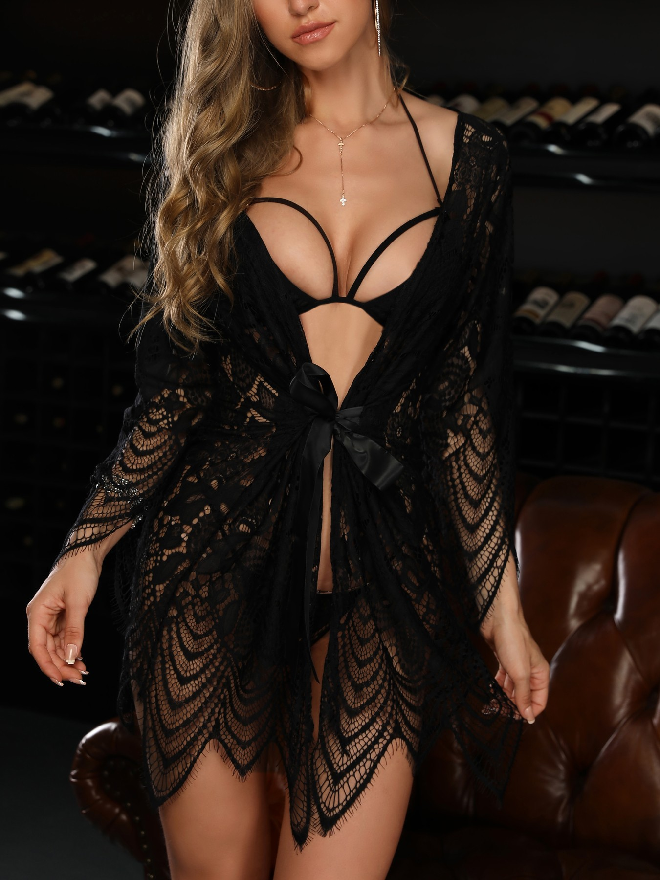 New Sexy Lingerie Women 's Sexy Lace Mesh Perspective Lace -up Bathrobe Underwear Three - Piece Pajamas Large Size