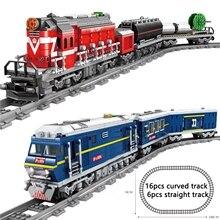 KAZI City Train Power Function High-tech Building Block Bricks DIY Tech Toys For Kids Compatible All Brands train 98219 98223