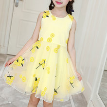 Summer 2021 New princess Dress Childrens Clothing Embroidery Sweet Printing Dress Fashion Korean clothes kid girls Yellow Dress
