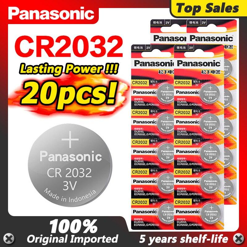 Акция PANASONIC 2020, 20 шт., высококачественные литиевые элементы питания 3 в Cr2032, 2032, батарейки для часов DL2032 ECR2032 5004LC