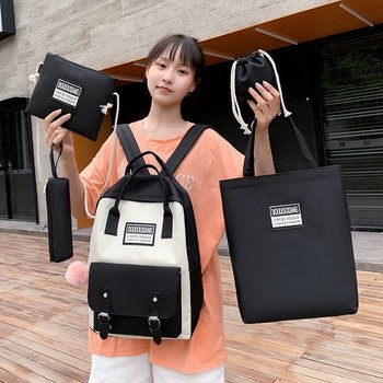 LITTHING 5 Piece/Set High School backpack Bags for Teenage Girls Canvas Travel Backpack Women Bookbags Teen Student School Bag