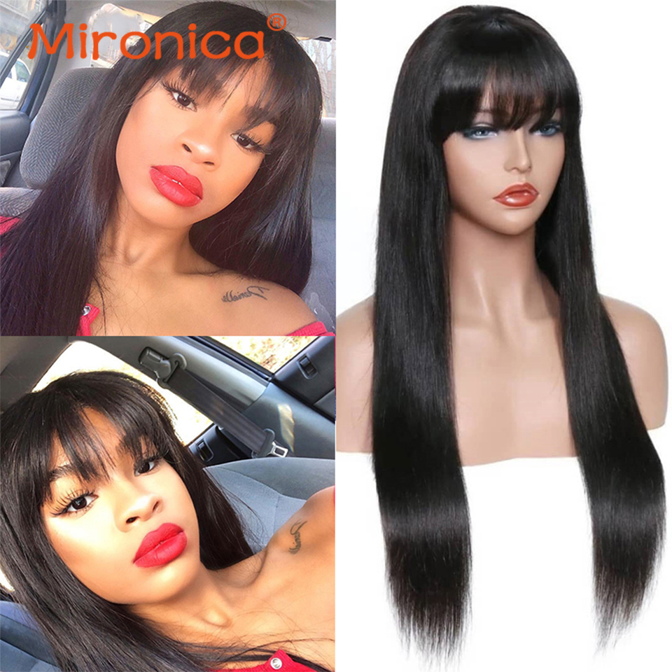 de cabelo humano para mulheres negras 8-24 peruca de franja de