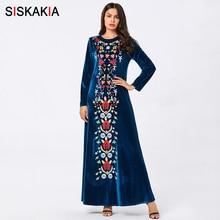 Siskakia Velvet Floral Embroidered Long Dress Elegant O Neck