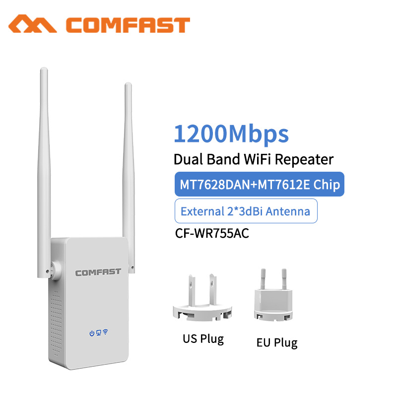 Wireless Wifi Repeater Router 1200Mbps Dual-Band 2.4/5.8G 2Antenna Wi-Fi Range Extender Wi-Fi Routers Home Network Home Supplies