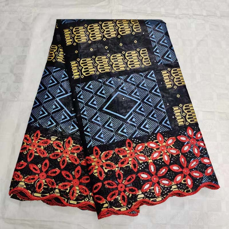 New Black Red Tissu Fabric Swiss cotton embroidered Austria Bazin riche getzner African Lace Fabric French
