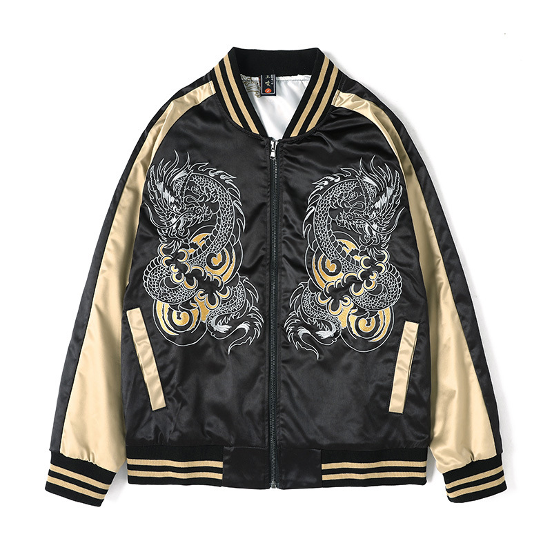 Men's Cotton Two Dragon Embroidery Jacket Long-sleeved Chinese Style Coats